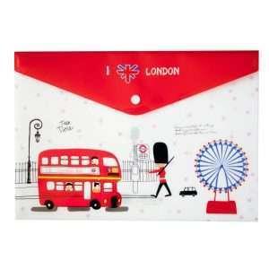 "Папка-конверт на кнопке ""I love London"" (красная), A4"