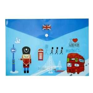 """Папка-конверт на кнопке """"I love London"""", A4 (синяя)"""