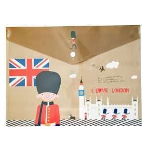 "Папка-конверт на кнопке ""I love London"" (коричневая), A4"