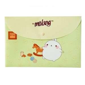 """Папка-конверт на кнопке """"Molang"""", А4 (зеленая)"""