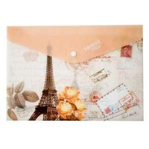 "Папка на кнопке ""Travel to Paris"", А4 (коричневая)"