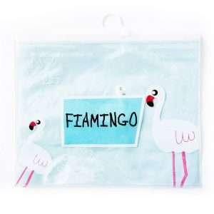 "Папка ""Фламинго"" на молнии, А4 (голубая)"