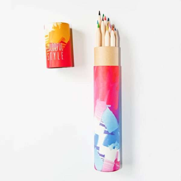 """Набор цветных карандашей """"Пастель"""" в тубусе (розовый)"""