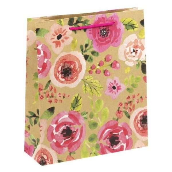 """Пакет вертикальный крафт """"Акварельные цветы"""", 23х27х8 см"""