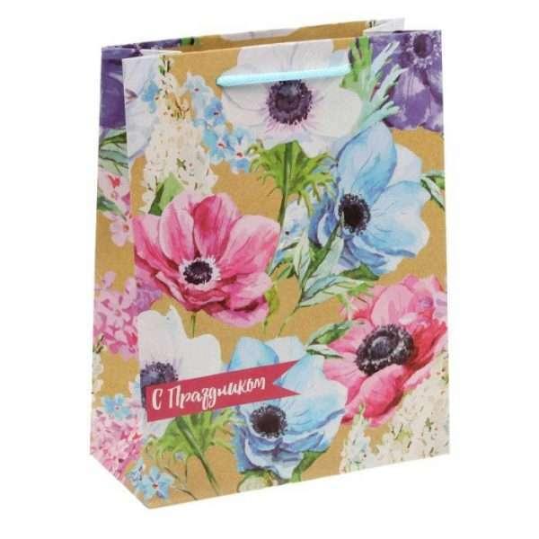 "Пакет вертикальный крафт ""Летние цветы"", 18х23х8 см"