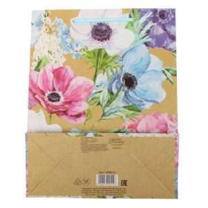 "Пакет вертикальный крафт ""Летние цветы"" (18 х 23 х 8 см)"