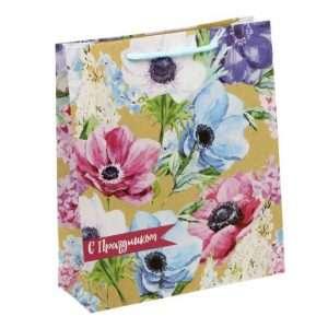 "Пакет вертикальный крафт ""Летние цветы"" (23 х 27 х 8 см)"