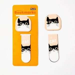 """Закладка магнитная """"Cute cat"""" (черно-белый кот)"""