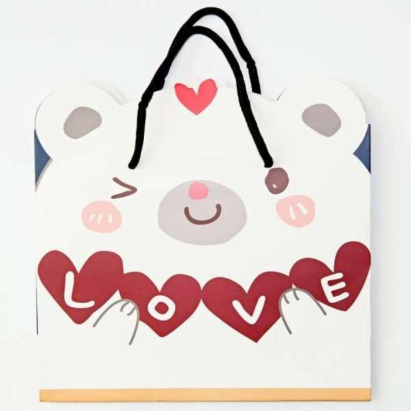 """Пакет подарочный """"Сute animals"""", маленький (белый)"""