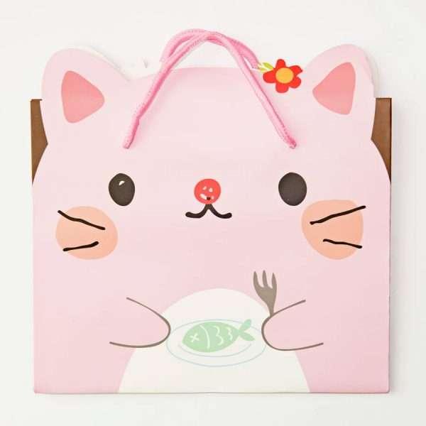 """Пакет подарочный """"Сute animals"""" (розовый), 17x14x7 см"""