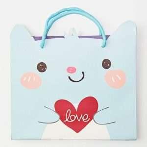 """Пакет подарочный """"Сute animals"""", средний (голубой)"""