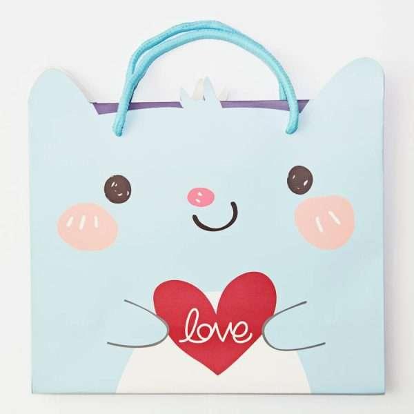 """Пакет подарочный """"Сute animals"""" (голубой), 30x27x12 см"""