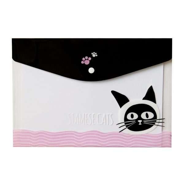 """Папка-конверт на кнопке """"Funny cat"""" (черный), А4"""