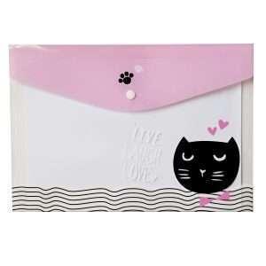 """Папка-конверт на кнопке """"Funny cat"""" (розовый)"""