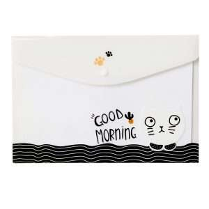 """Папка-конверт на кнопке """"Funny cat"""" (белый)"""