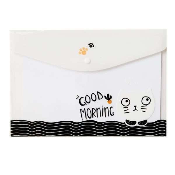 """Папка-конверт на кнопке """"Funny cat"""" (белый), А4"""