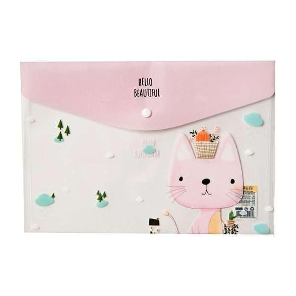 """Папка-конверт на кнопке """"Cute animals"""" (розовый), А4"""