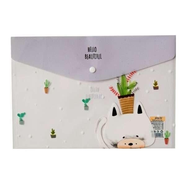 "Папка-конверт на кнопке ""Cute animals"" (сиреневый), А4"