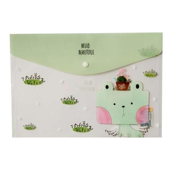 """Папка-конверт на кнопке """"Cute animals"""" (салатовый), А4"""