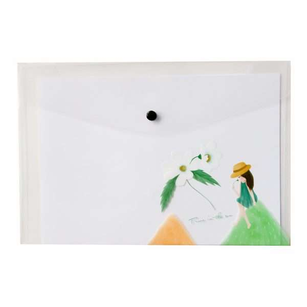 "Папка-конверт на кнопке ""Girl dreams"" (цветок), А4"