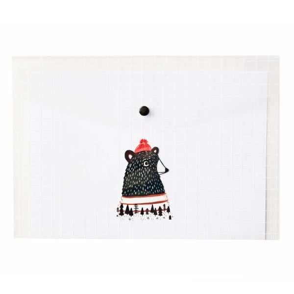 """Папка-конверт на кнопке """"Forest animals"""" (медведь), А4"""