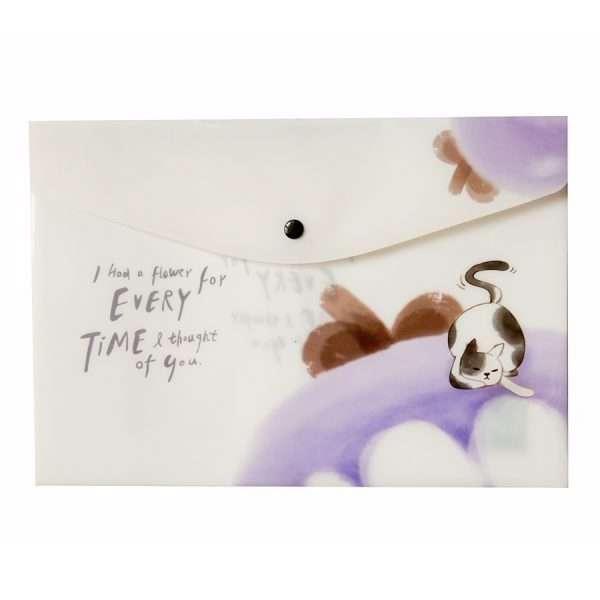 """Папка-конверт на кнопке """"Cat in fruits"""" (черника), А4"""