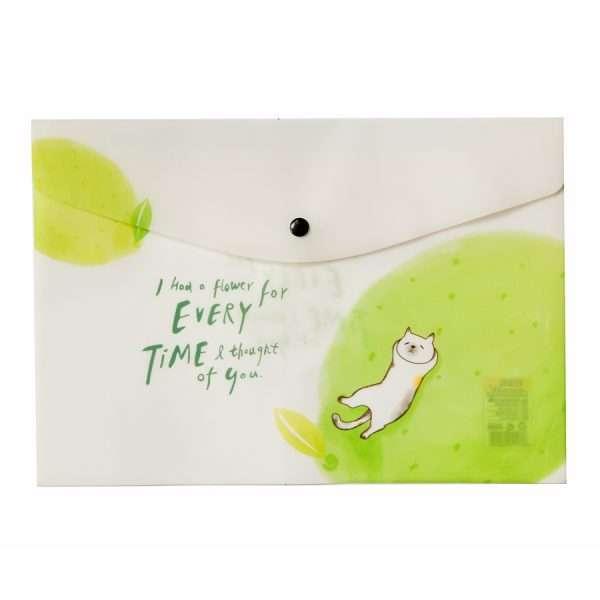 """Папка-конверт на кнопке """"Cat in fruits"""" (лайм), А4"""