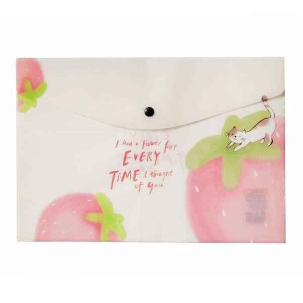 "Папка-конверт на кнопке ""Cat in fruits"" (клубника), А4"
