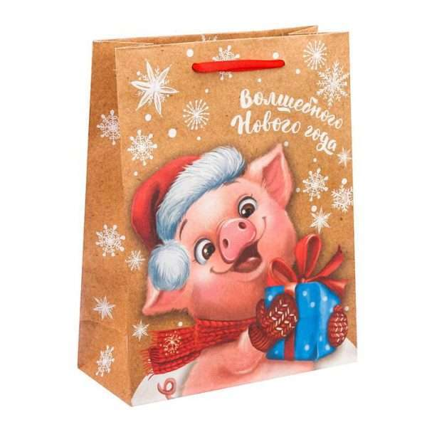 Пакет крафтовый «Волшебного Нового года», 12 х 15 х 5,5 см