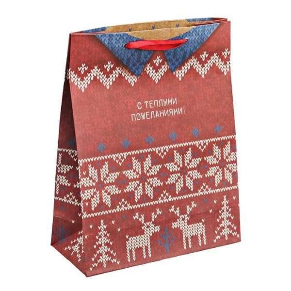 Пакет крафтовый «Тёплый свитер», 12×15×5,5 см
