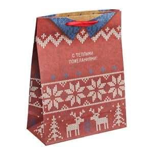 Пакет крафт вертикальный «Тёплый свитер», 23×27×8 см