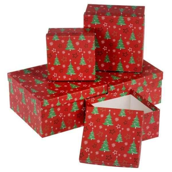 """Подарочная коробка """"Ёлочки"""" (16*16*9см)"""
