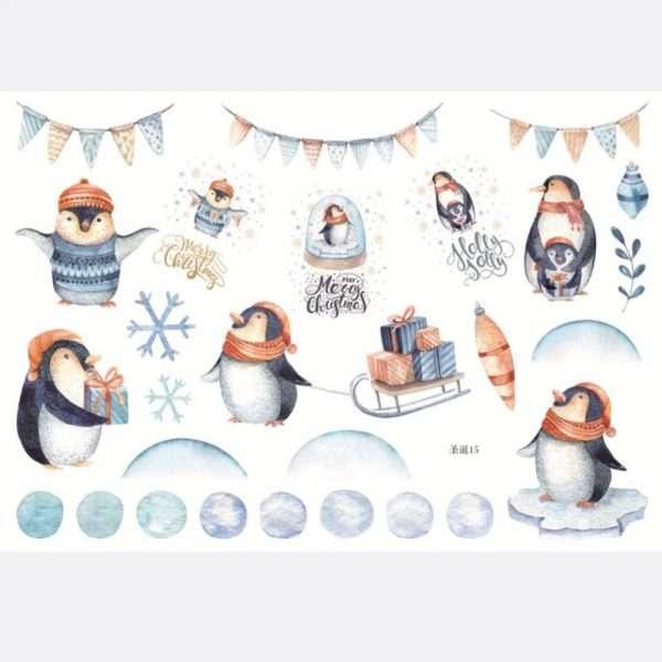 """Наклейки акварельные """"Merry Christmas"""" (пингвины)"""