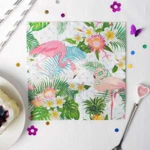 """Салфетки бумажные """"Фламинго с цветами"""" (20 шт.)"""