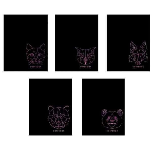 """Тетрадь """"TOTAL BLACK. Полигональные звери"""", А5, 48л"""