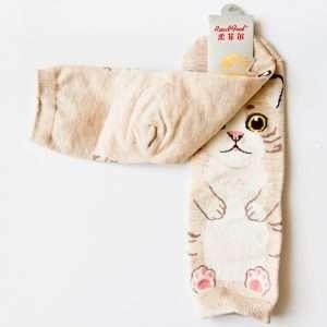 """Носки женские """"Cute cat"""" (бежевые)"""