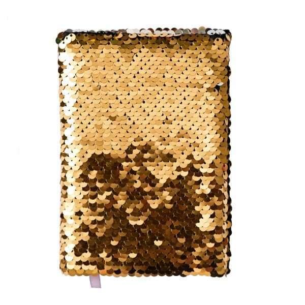 Блокнот с пайетками, А6 (золото)