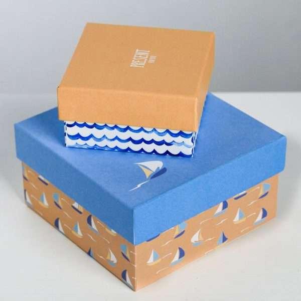 Подарочная коробка «Морской стиль» (8 х 8 х 4.5 см)