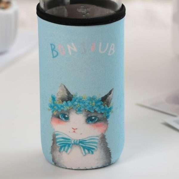 """Бутылка 300 мл """"Розовые щечки"""" (кот голубой)"""