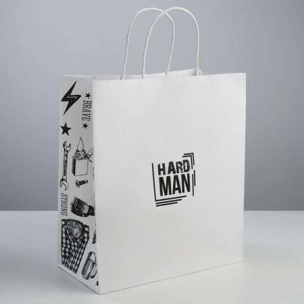 """Пакет подарочный крафт """"Hard man"""", 28×32×15 см"""