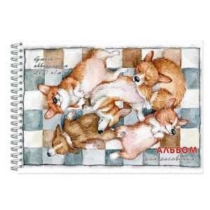 Альбом для рисования акварелью «Корги спящие» , А4