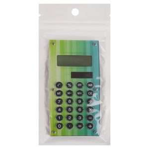 Калькулятор карманный «Цветы» (синий)